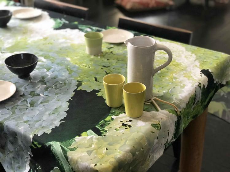 Nappe décor hortensias