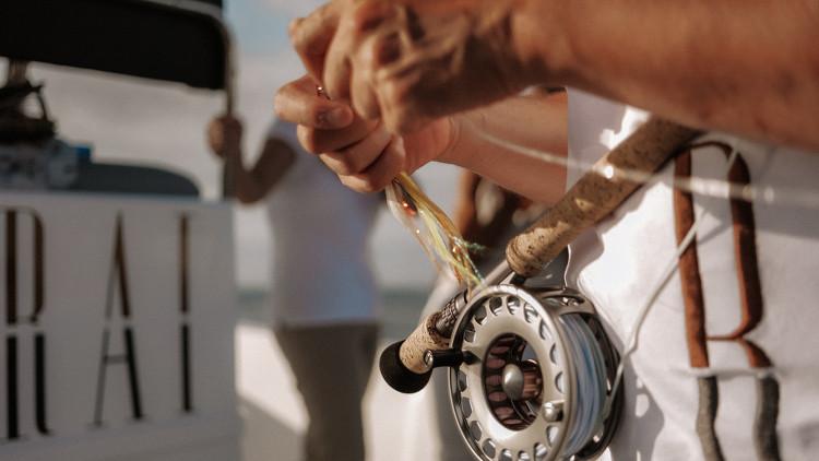 Main et canne à pêche