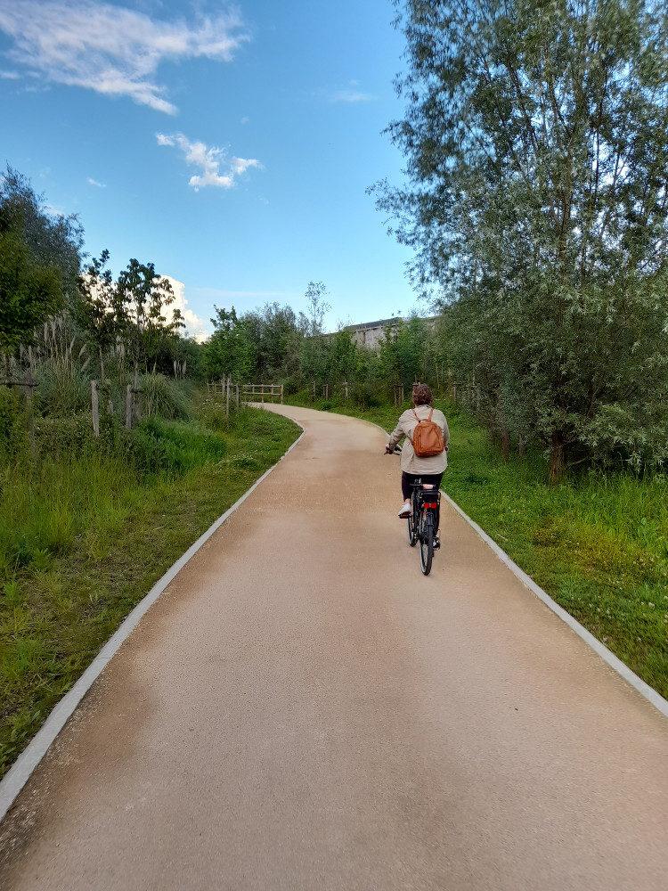cycliste sur la voie verte à Bidart